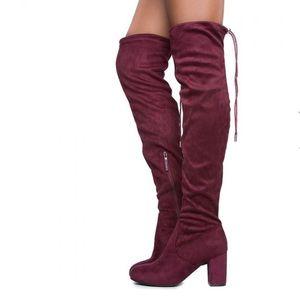 Wine Over The Knee Block Heel Boot